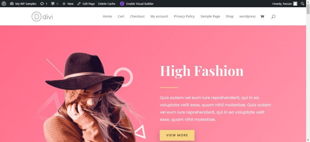 jumping header in divi theme