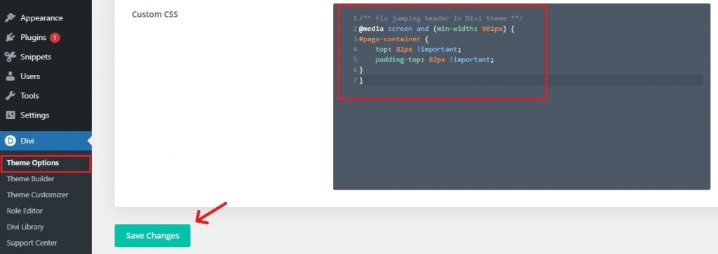 fix jumping header from the divi theme options