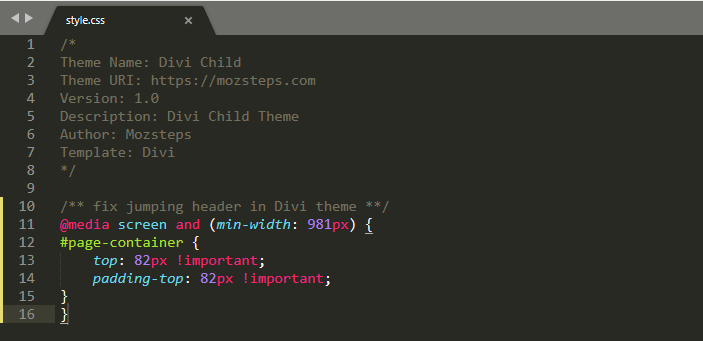 fix jumping header in divi child theme
