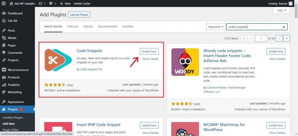 install code snippets on WordPress